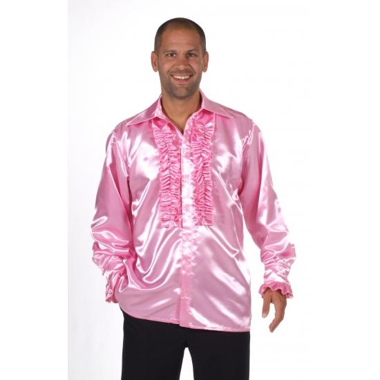 a91c7c5c8ee Rouche blouse heren, Satijnen roze blouse met rouches ...